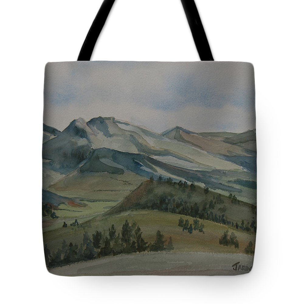 Montana Tote Bag featuring the painting Montana Skyline by Jenny Armitage