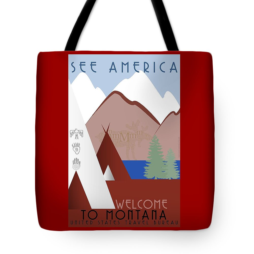 Montana Tote Bag featuring the digital art Montana by Steven Boland