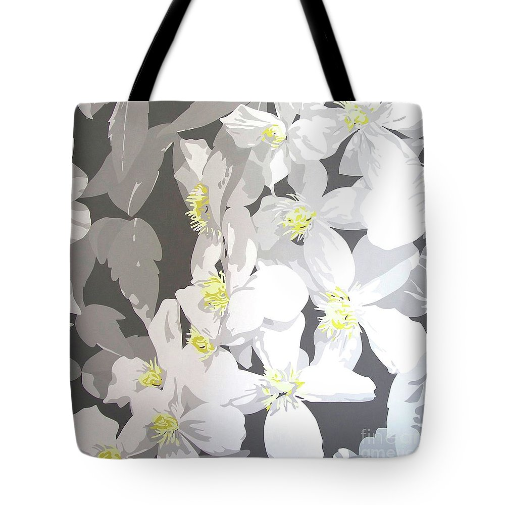 Clematis Tote Bag featuring the painting Montana by Susan Porter