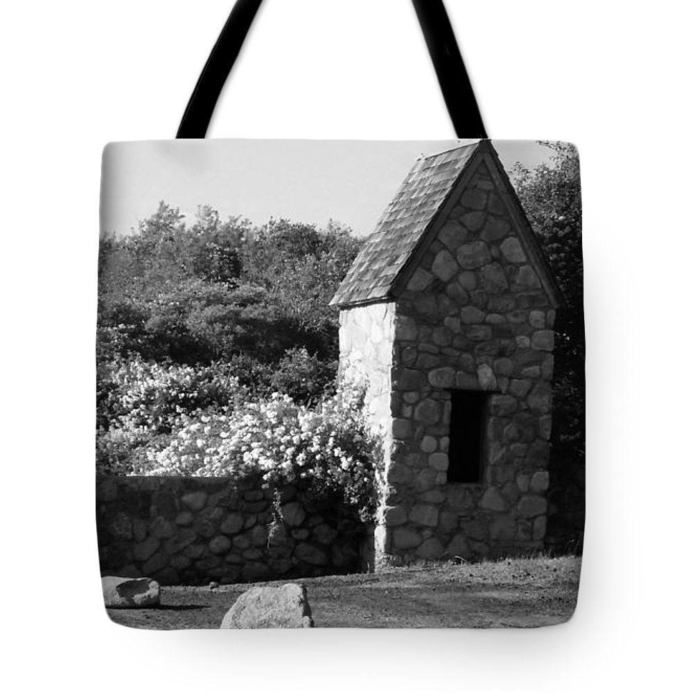 Stones Tote Bag featuring the photograph Montauk Guard House 2 B W by Rob Hans