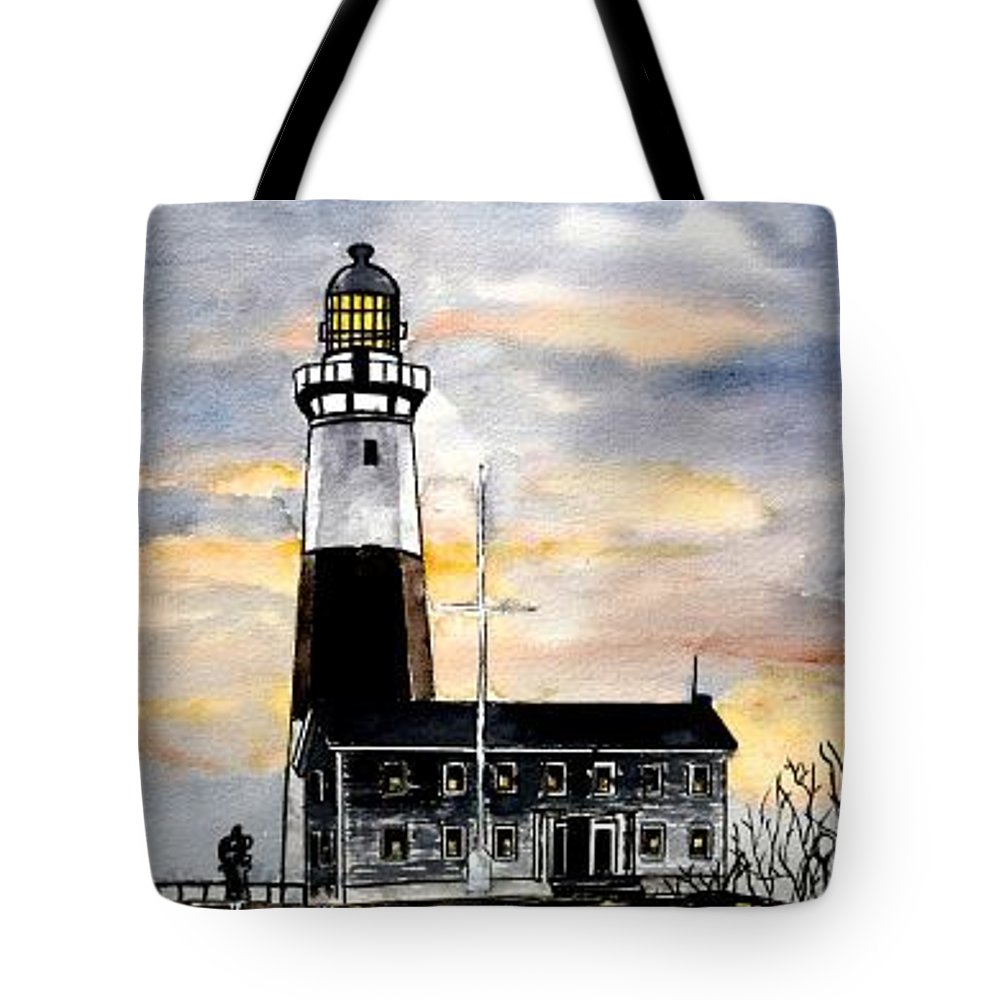 Montauk Point Tote Bag featuring the painting Montauk Point Lighthouse by Derek Mccrea