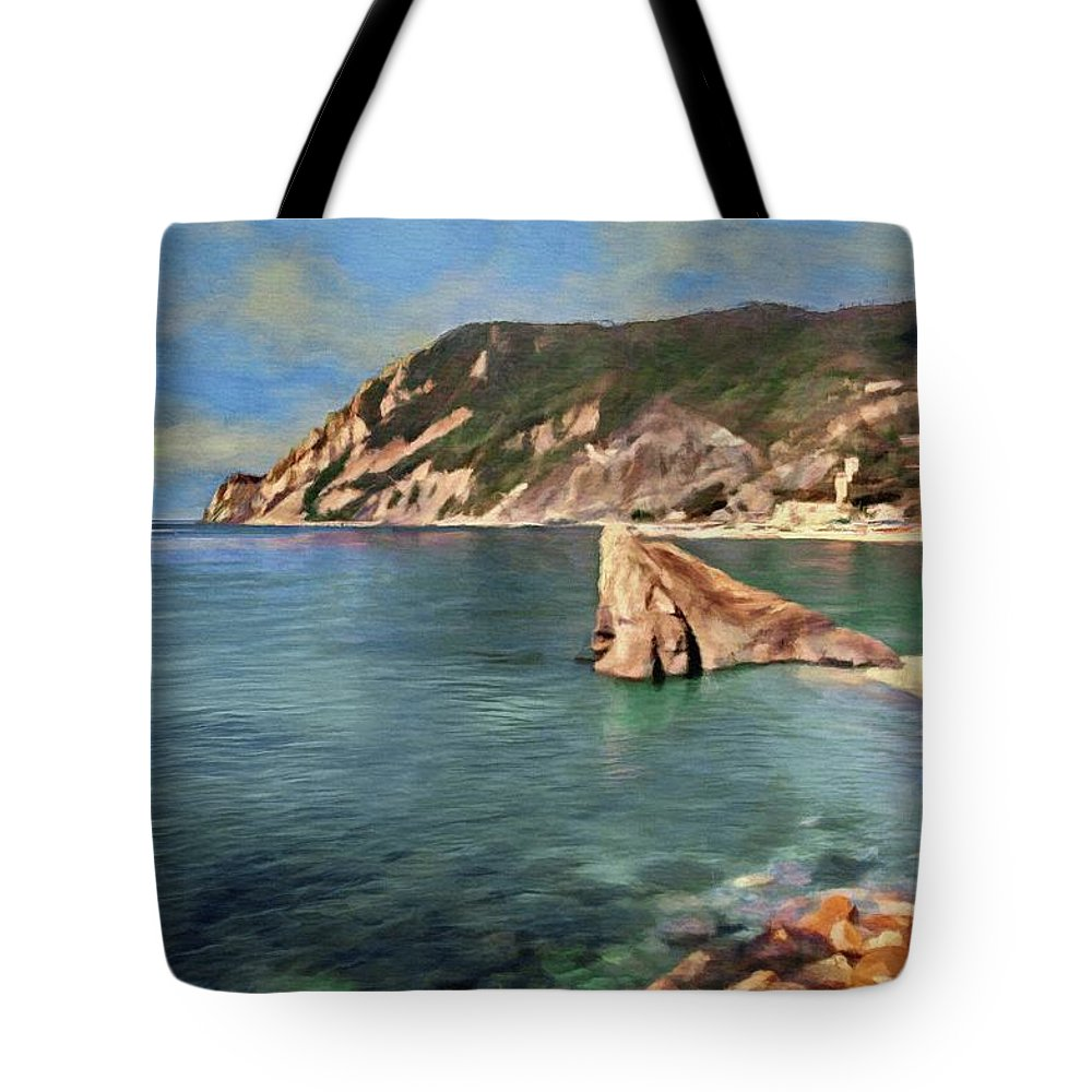 Cinque Terra Tote Bag featuring the painting Monterosso Beach by Jeffrey Kolker