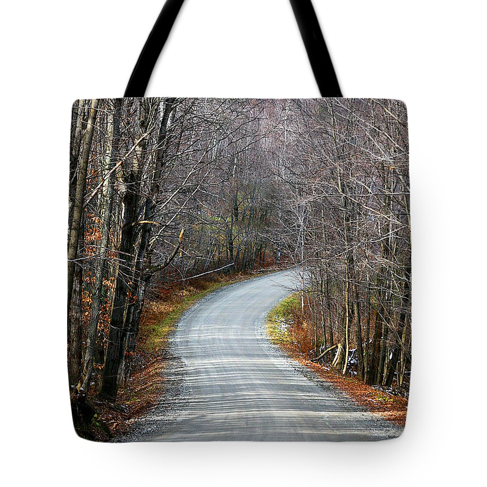 Road Tote Bag featuring the photograph Montgomery Mountain Road by Deborah Benoit