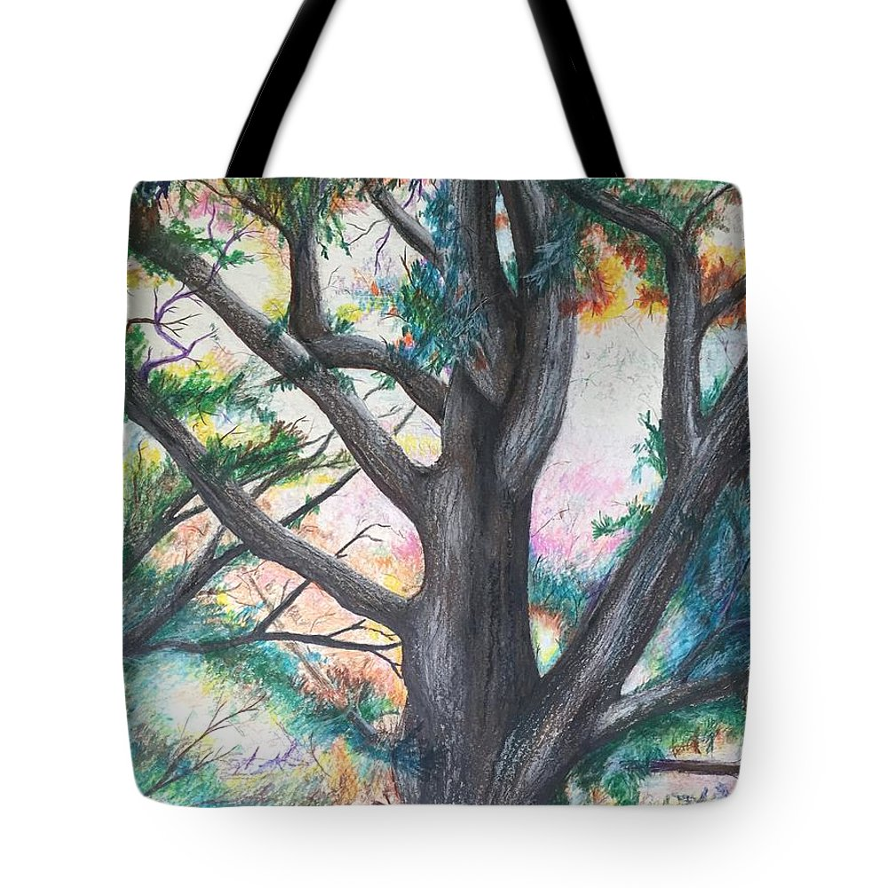 Monticello Tote Bag featuring the pastel Monticello Tree by Colleen Gartner