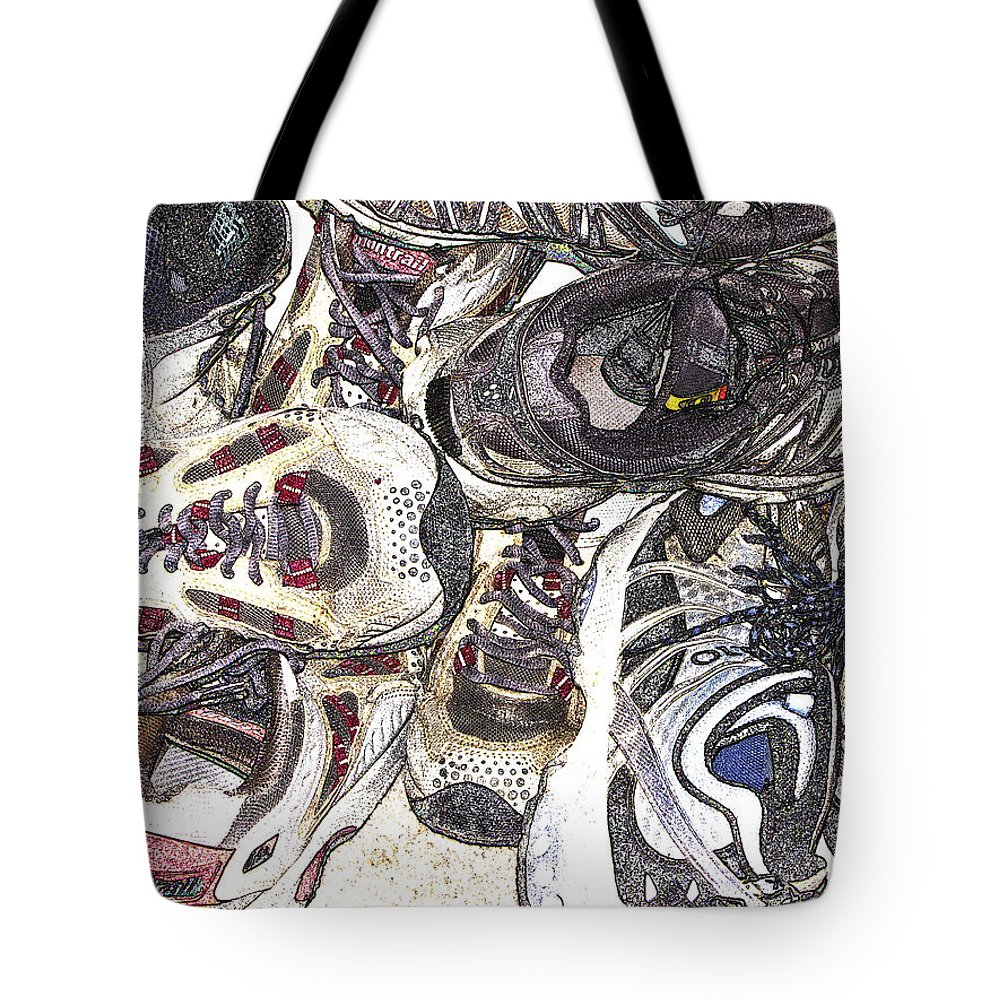 Abstract Tote Bag featuring the photograph Montrails And Solomons by Karen W Meyer