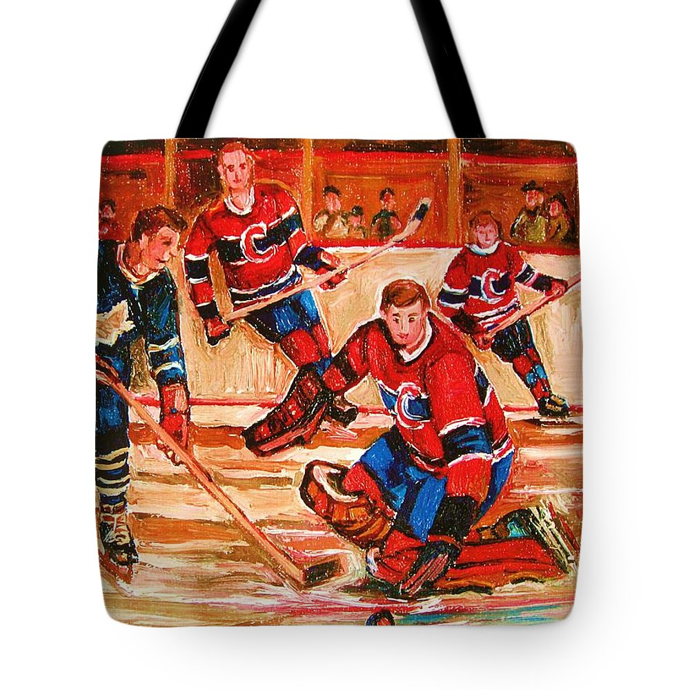 Montreal Forum Hockey Tote Bag featuring the painting Montreal Forum Hockey Game by Carole Spandau