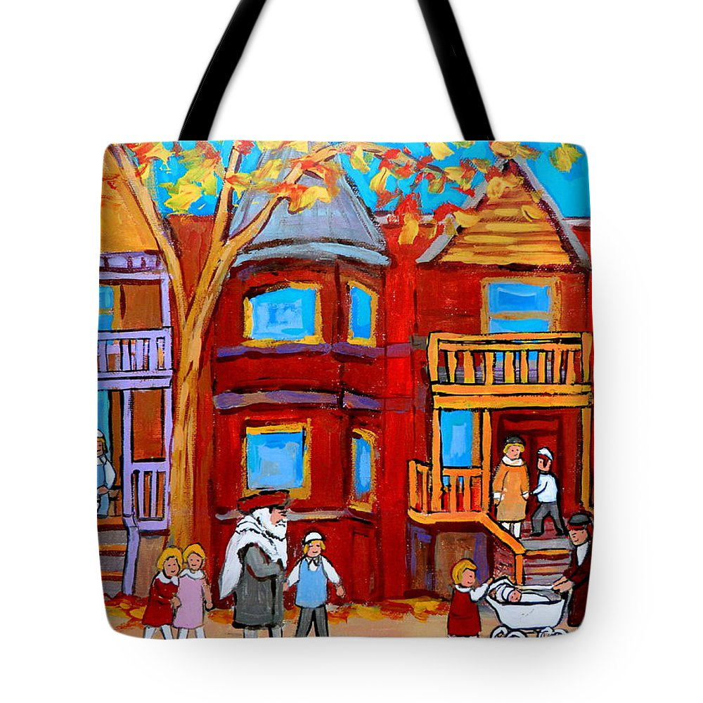 Outremont Tote Bag featuring the painting Montreal Memories Of Zaida And The Family by Carole Spandau