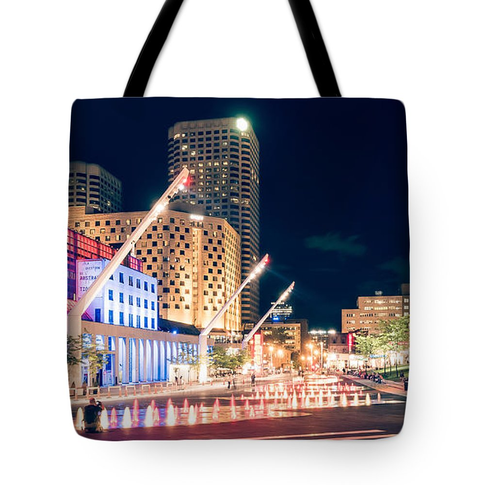 Montreal Tote Bag featuring the photograph Montreal - Place Des Arts by Alexander Voss