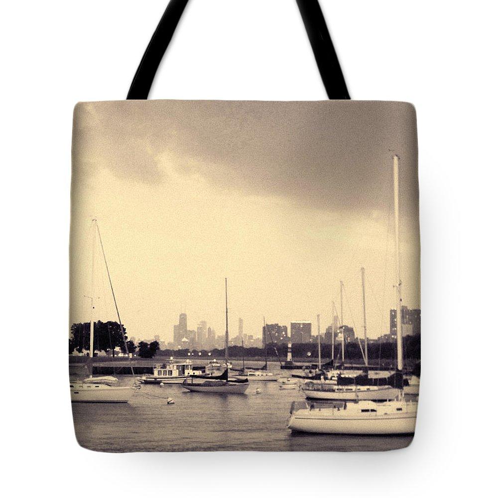 Montrose Harbor Tote Bag featuring the photograph Montrose Harbor Skyline by Kyle Hanson