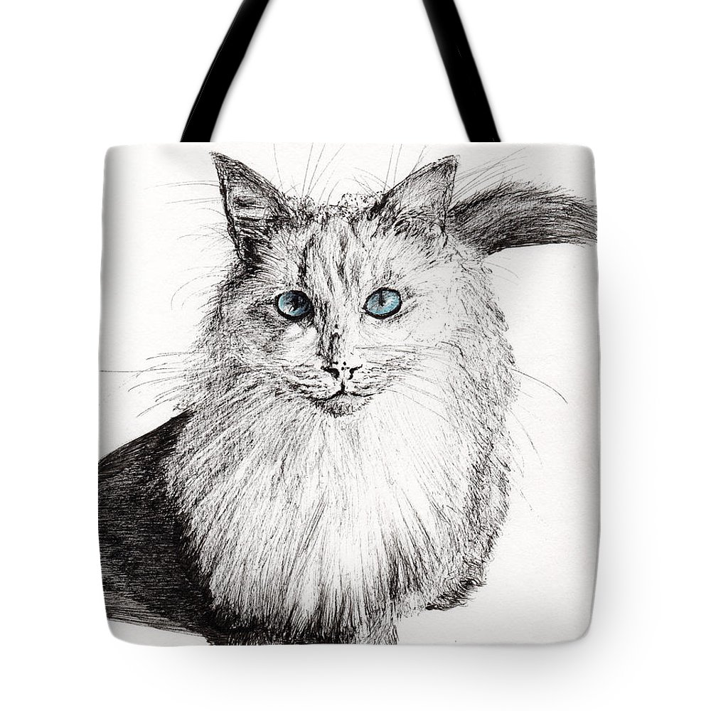 Cat Tote Bag featuring the painting Monty by Vincent Alexander Booth
