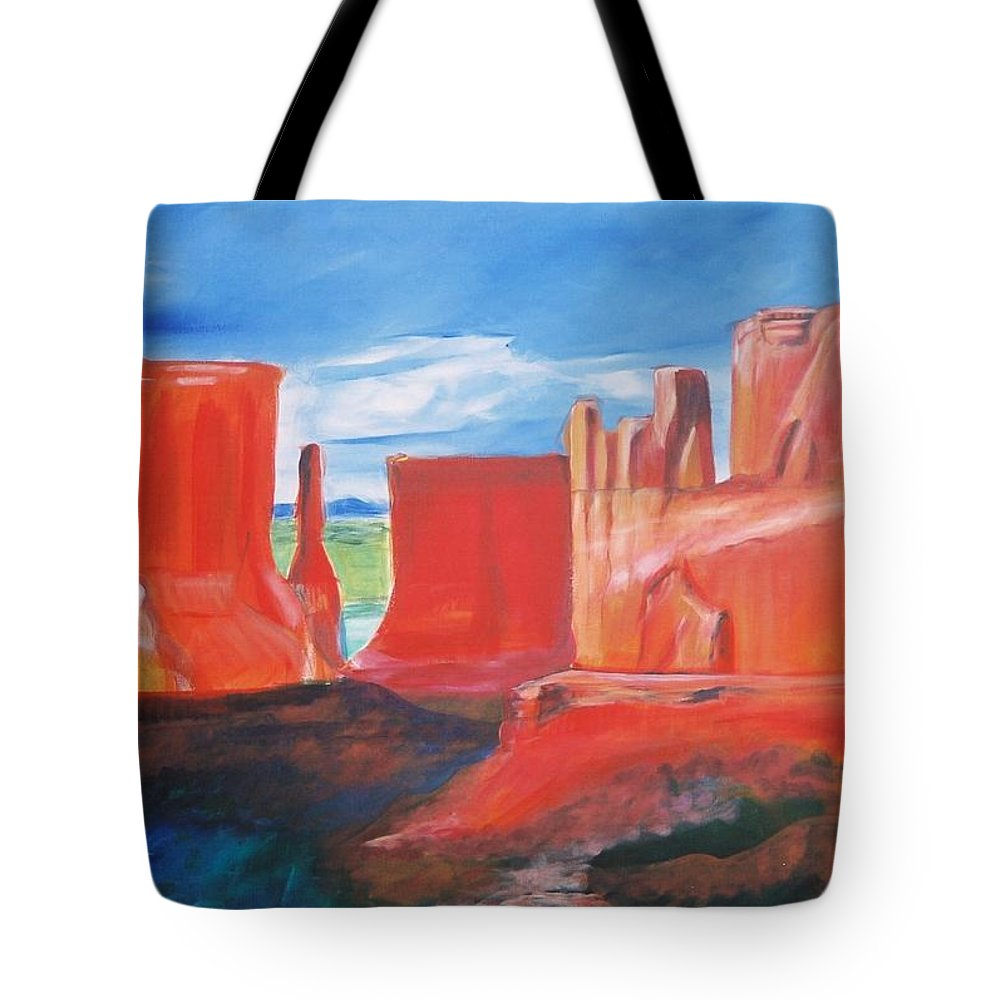 Floral Tote Bag featuring the painting Monument Valley by Eric Schiabor