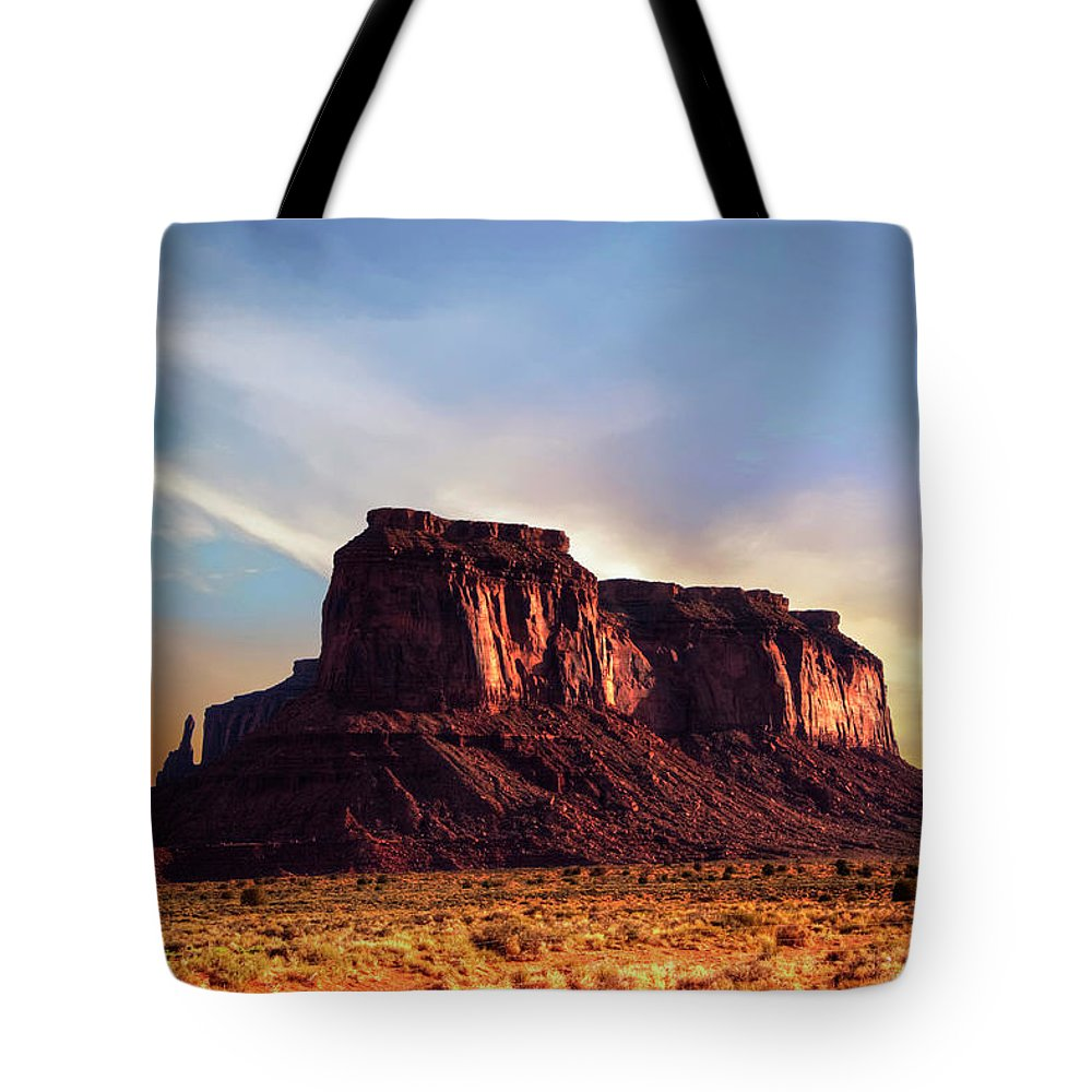 Monument Valley Tote Bag featuring the photograph Monument Valley sunset by Roy Nierdieck