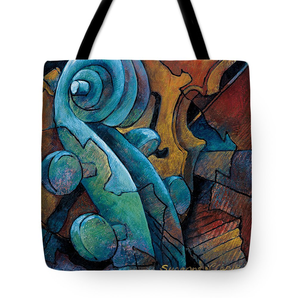 Cello Artwork Tote Bag featuring the painting Moody Blues by Susanne Clark