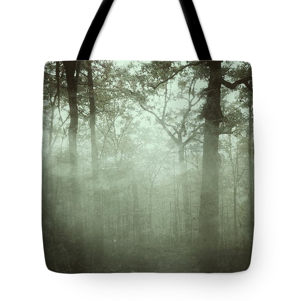 Fog Tote Bag featuring the photograph Moody Foggy Forest by Doris Aguirre