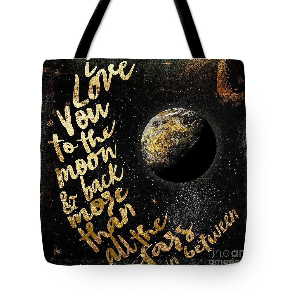Moon Tote Bag featuring the painting Moon And Back Stars Night by Mindy Sommers