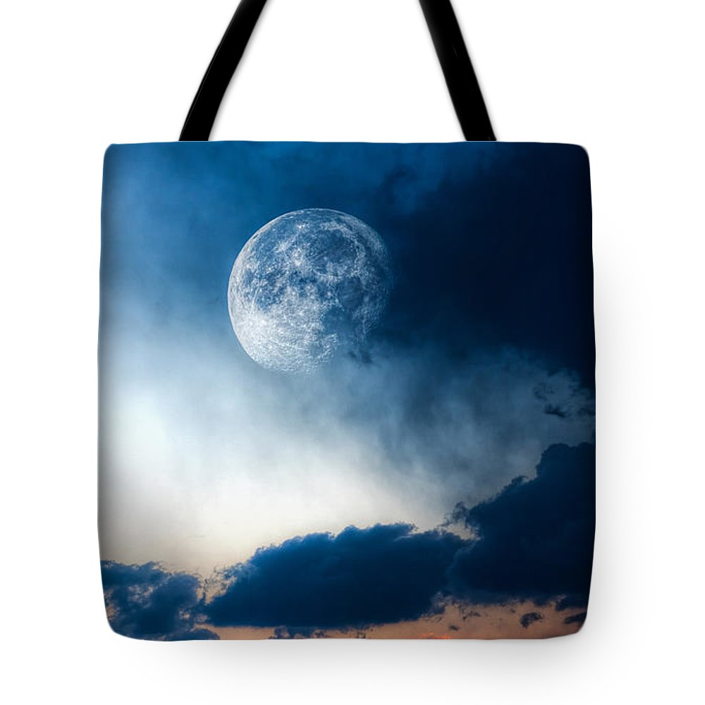 Sky Tote Bag featuring the photograph Moon by Bob Orsillo
