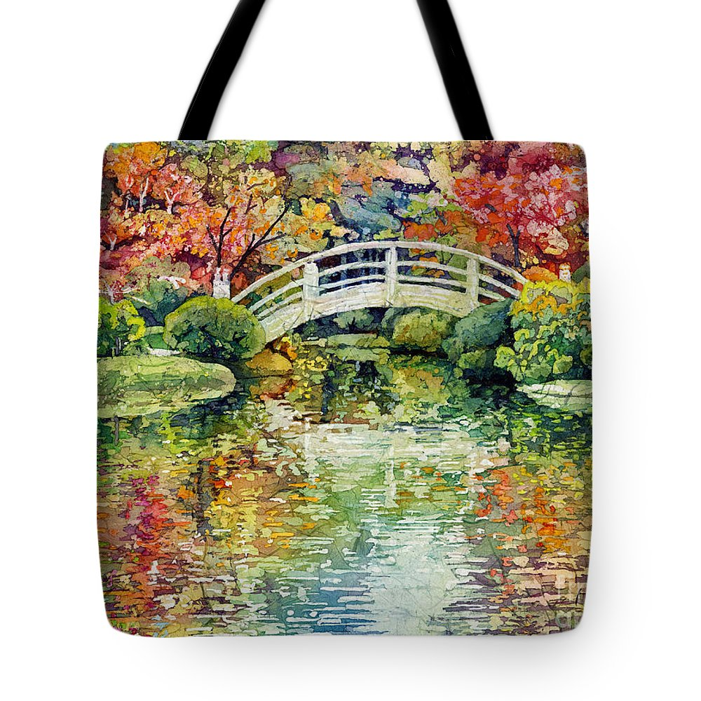 Moon Bridge Tote Bag featuring the painting Moon Bridge by Hailey E Herrera
