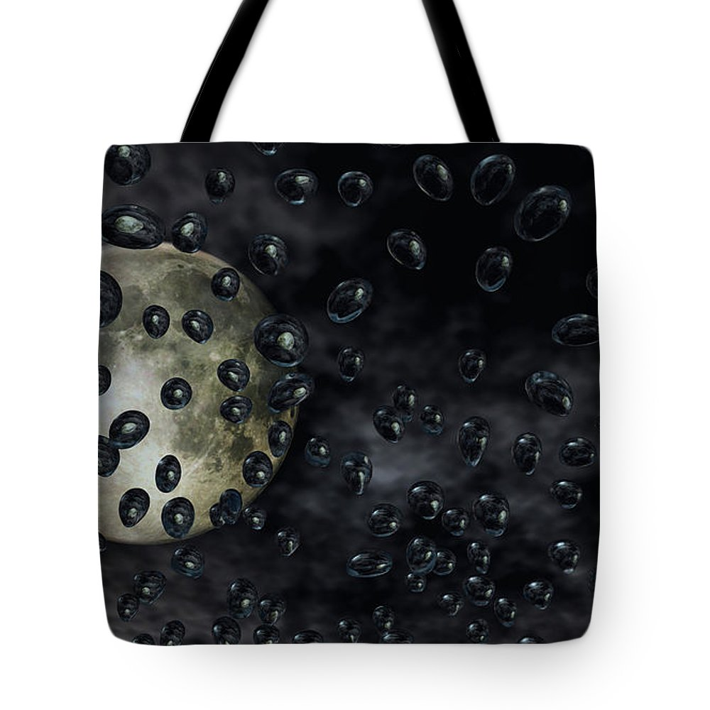 Moon Tote Bag featuring the digital art Moon Drops by Richard Rizzo