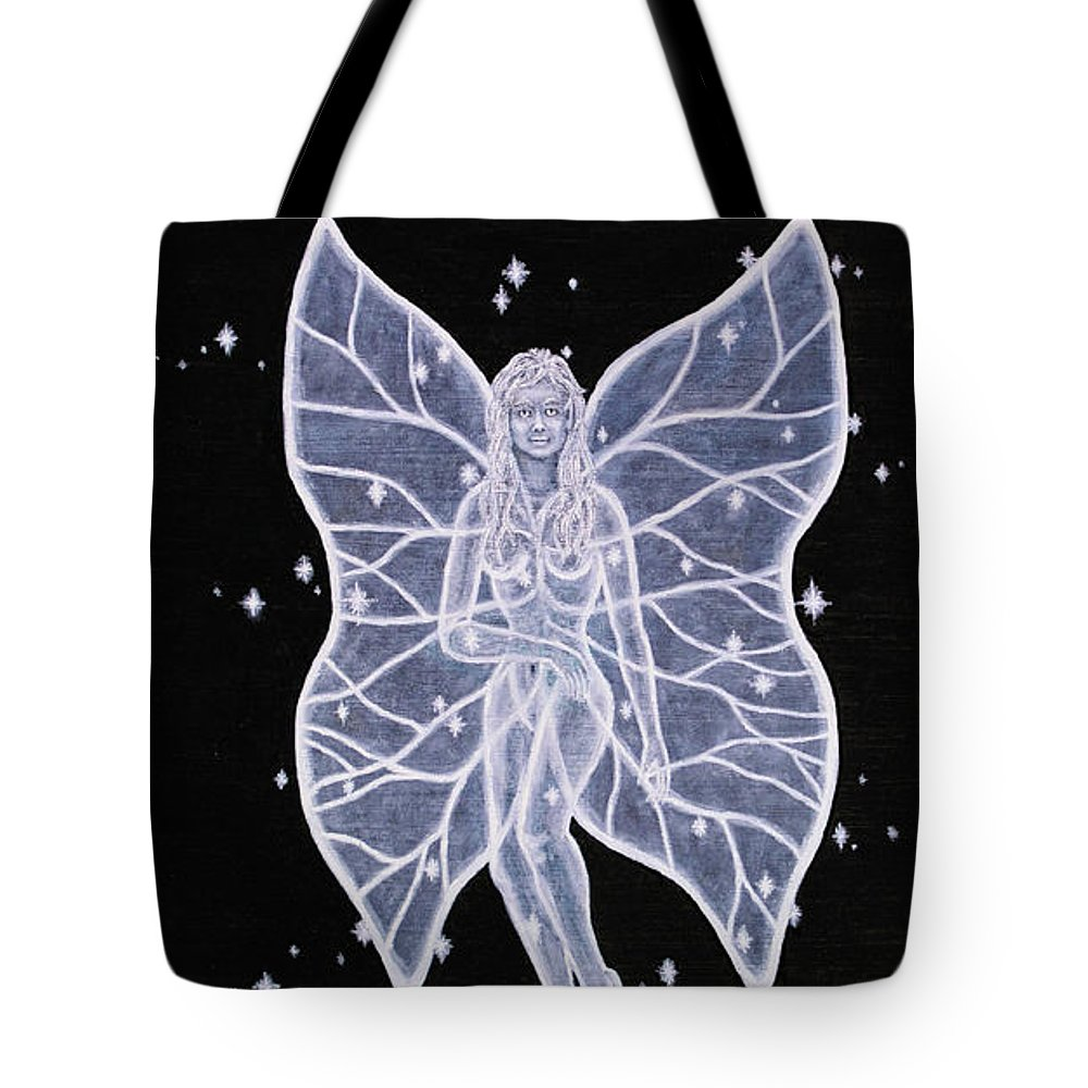 Fairy Tote Bag featuring the painting Moon Fairy by Roz Eve