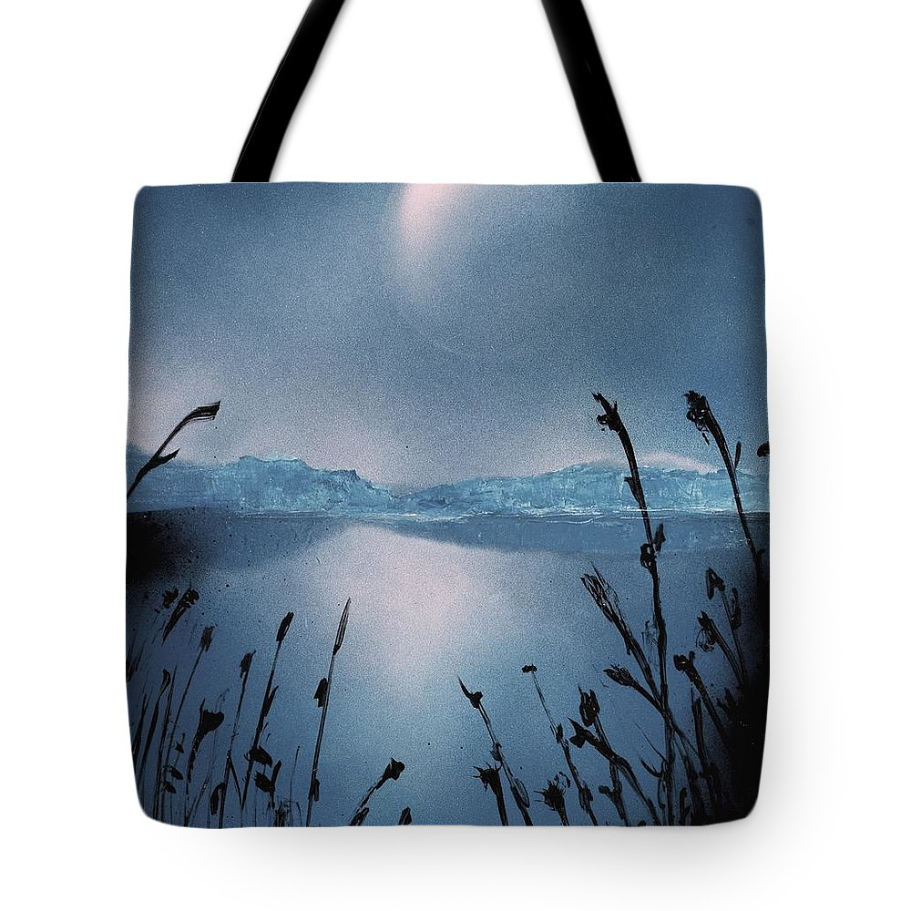Fantasy Tote Bag featuring the painting Moon Fog by Nandor Molnar