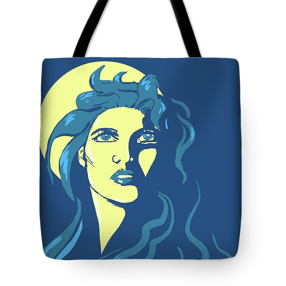 Moon Tote Bag featuring the digital art Moon Girl by M M Cooper