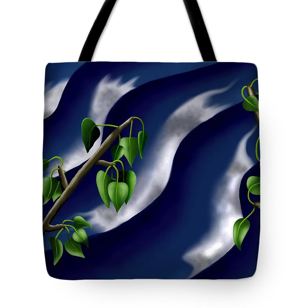 Surrealism Tote Bag featuring the digital art Moon-glow I - Poplars Over Water At Night by Robert Morin