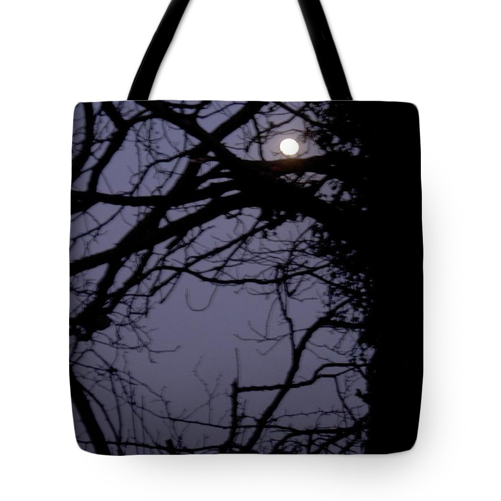 Moon Tote Bag featuring the photograph Moon In Inky Blue Sky by Maria Joy
