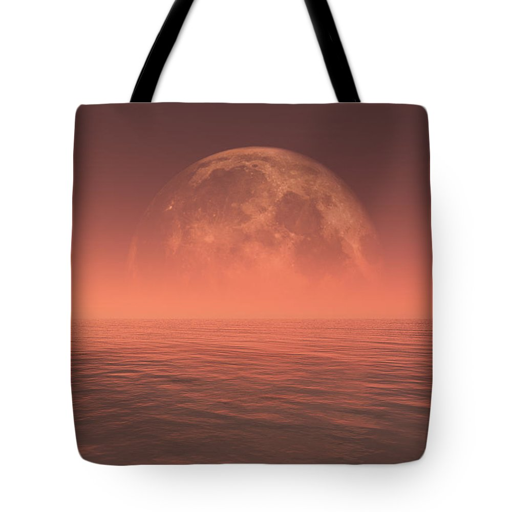 Space Tote Bag featuring the digital art Moon by Jay Salton