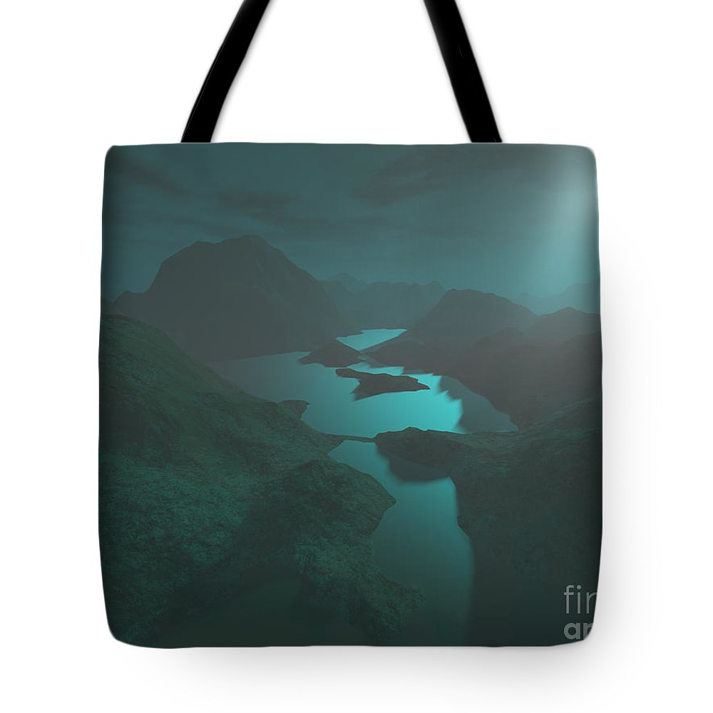 Digital Art Tote Bag featuring the digital art Moon Light At The Mountains by Gaspar Avila