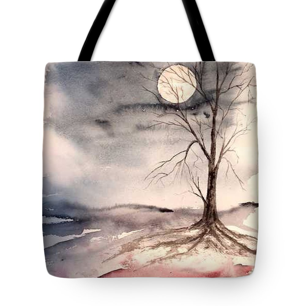 Moon Tote Bag featuring the painting Moon Light by Derek Mccrea