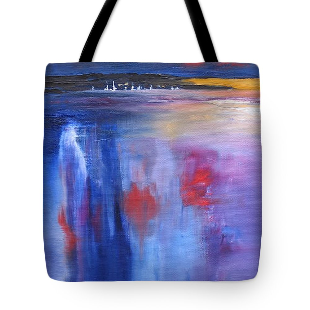 Oil Painting Tote Bag featuring the painting Moon Lit by Laura Lee Zanghetti