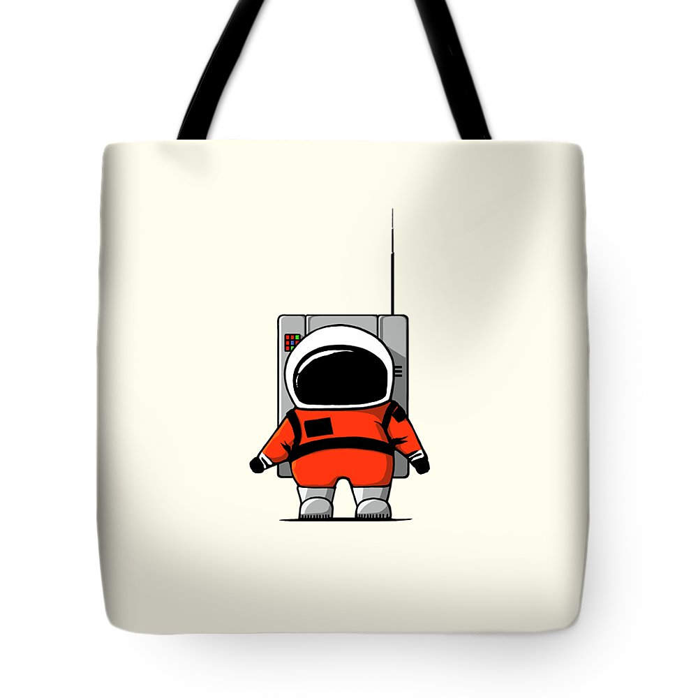 Ink-pen Tote Bag featuring the digital art Moon Man by Nicholas Ely