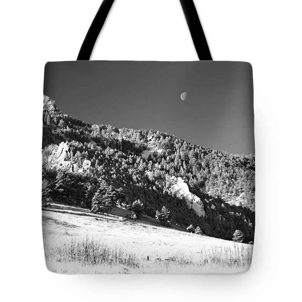 Colorado Tote Bag featuring the photograph Moon Over Chatauqua 2 by Marilyn Hunt