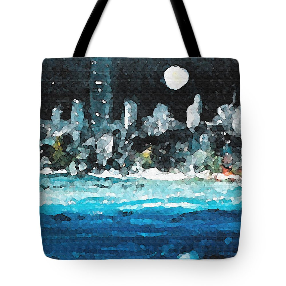 Miami Tote Bag featuring the painting Moon Over Miami by Jorge Delara