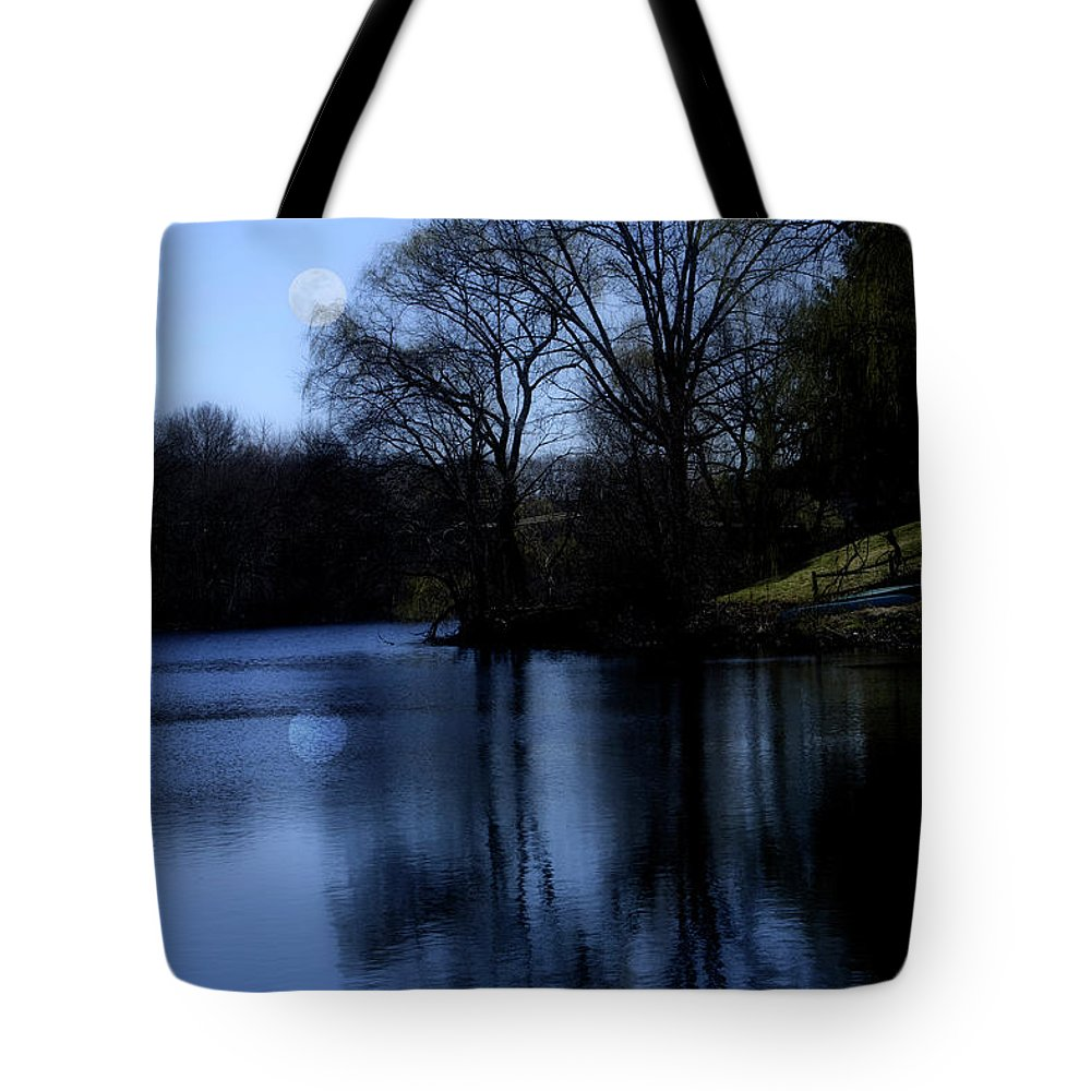Moon Tote Bag featuring the digital art Moon Over The Charles by Edward Cardini