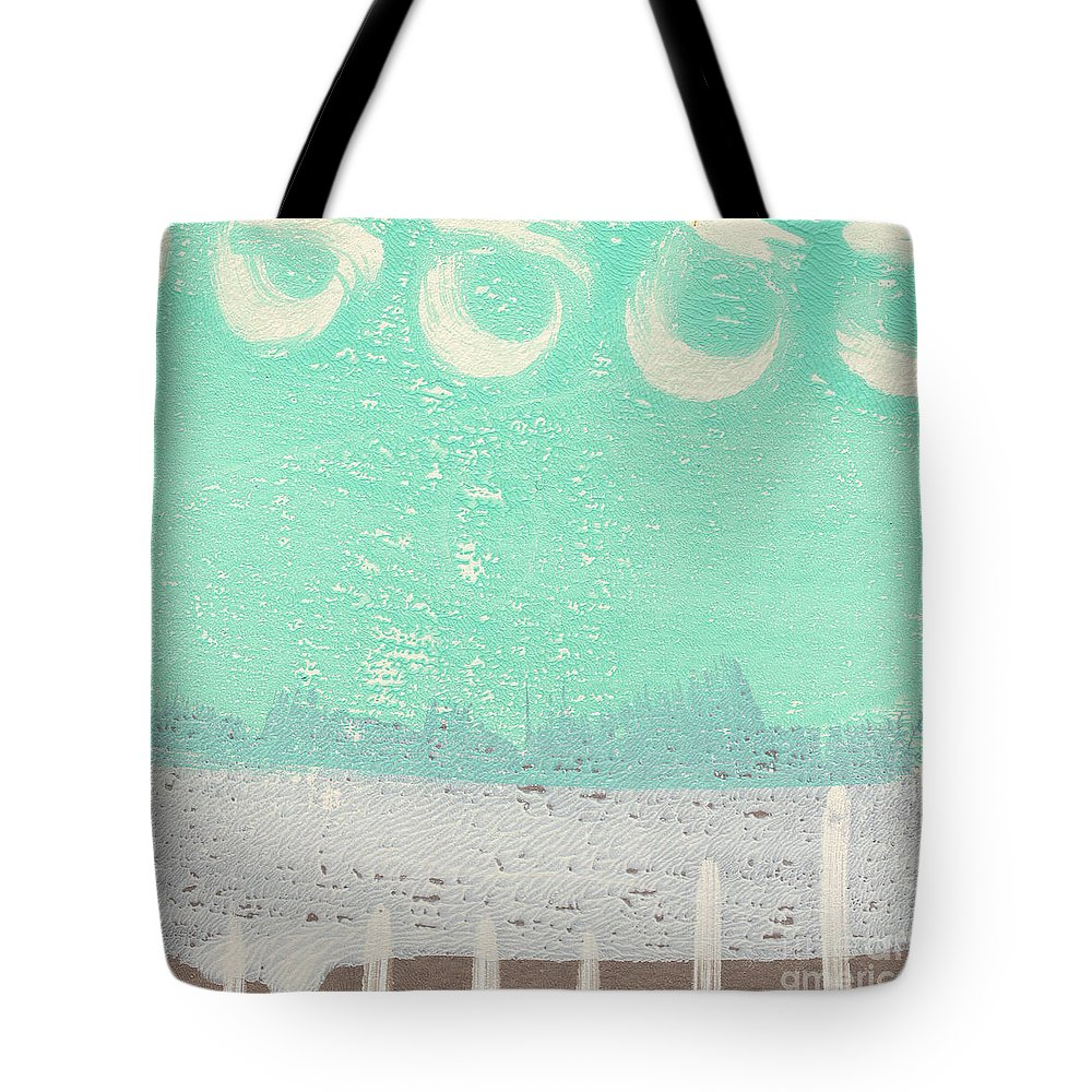 Abstract Tote Bag featuring the painting Moon Over The Sea by Linda Woods