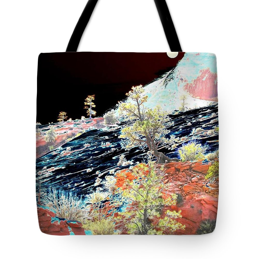 Photo Design Tote Bag featuring the digital art Moon Over Utah by Will Borden
