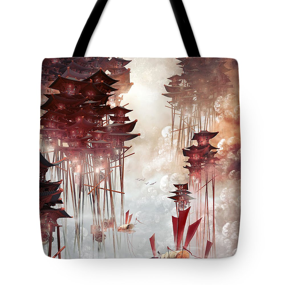 Landscape Tote Bag featuring the digital art Moon Palace by Te Hu