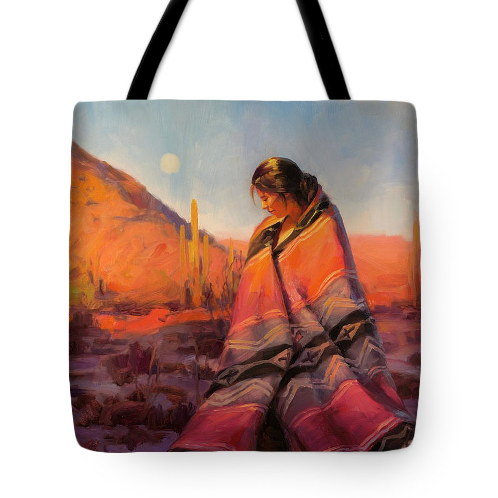 Southwest Tote Bag featuring the painting Moon Rising by Steve Henderson