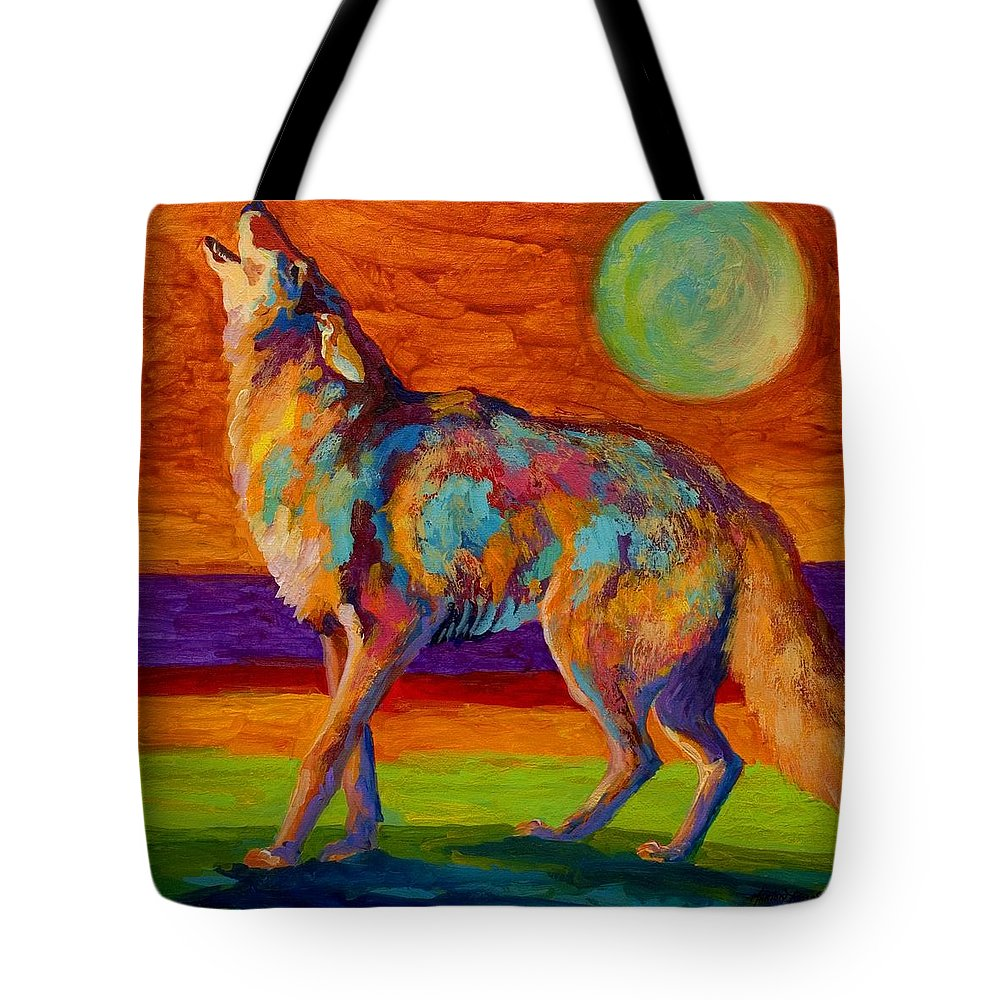 Coyote Tote Bag featuring the painting Moon Talk - Coyote by Marion Rose