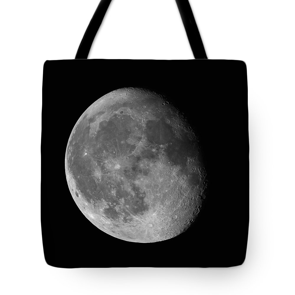Closeup Tote Bag featuring the photograph Moon Waning Gibbous Against Black Night Sky High Resolution Image by Lukasz Szczepanski