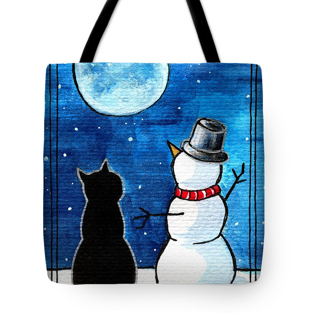 Moon Watching With Snowman Tote Bag featuring the painting Moon Watching With Snowman - Christmas Cat by Dora Hathazi Mendes