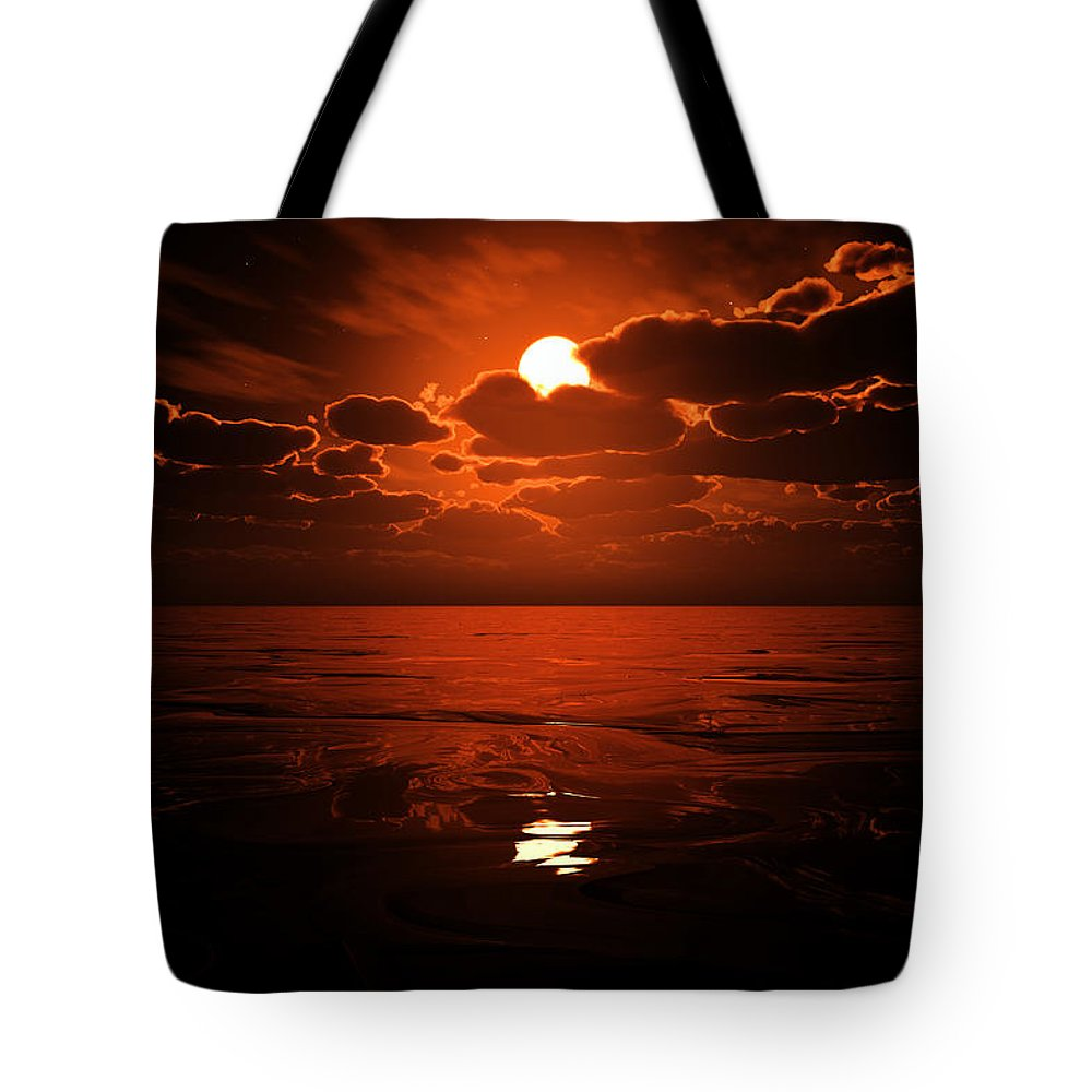 Cloud Tote Bag featuring the digital art Moon Water by Max Steinwald