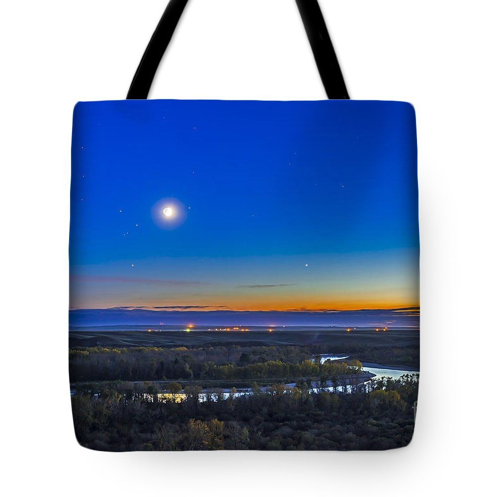 Alberta Tote Bag featuring the photograph Moon With Antares, Mars And Saturn by Alan Dyer