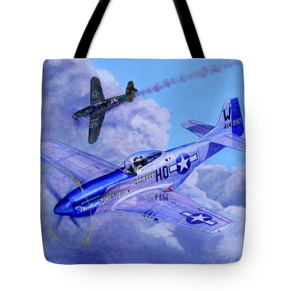 Capt Bill Wisner Shoots Down Two Bf-109s On November 2nd 1944 Tote Bag featuring the painting Moonbeam Mcswine by Scott Robertson