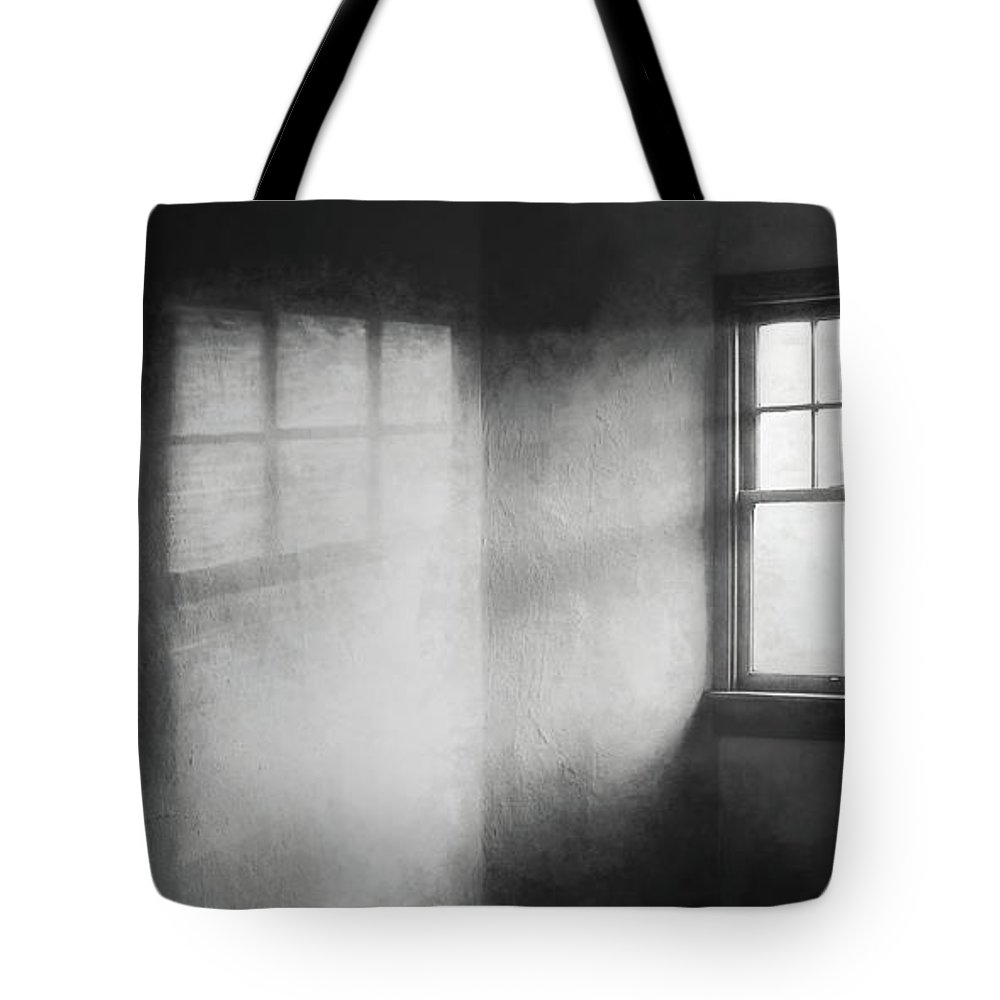 Window Tote Bag featuring the photograph Moonbeams On The Attic Window by Scott Norris