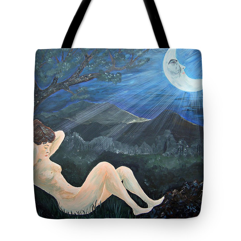 Woman Tote Bag featuring the painting Moonlight And Sorrow by Donna Blackhall