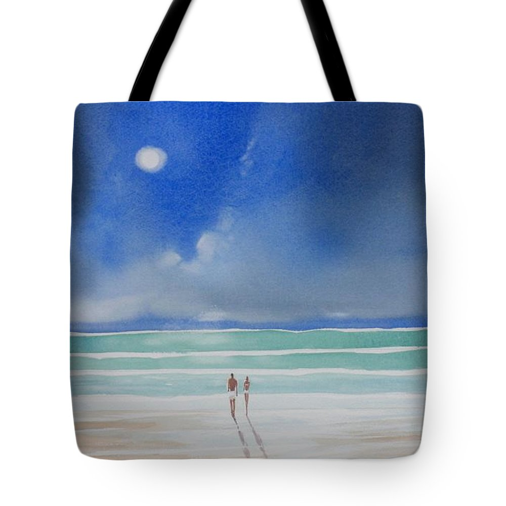 Moonlight Tote Bag featuring the painting Moonlight At The Beach II by Tom Harris