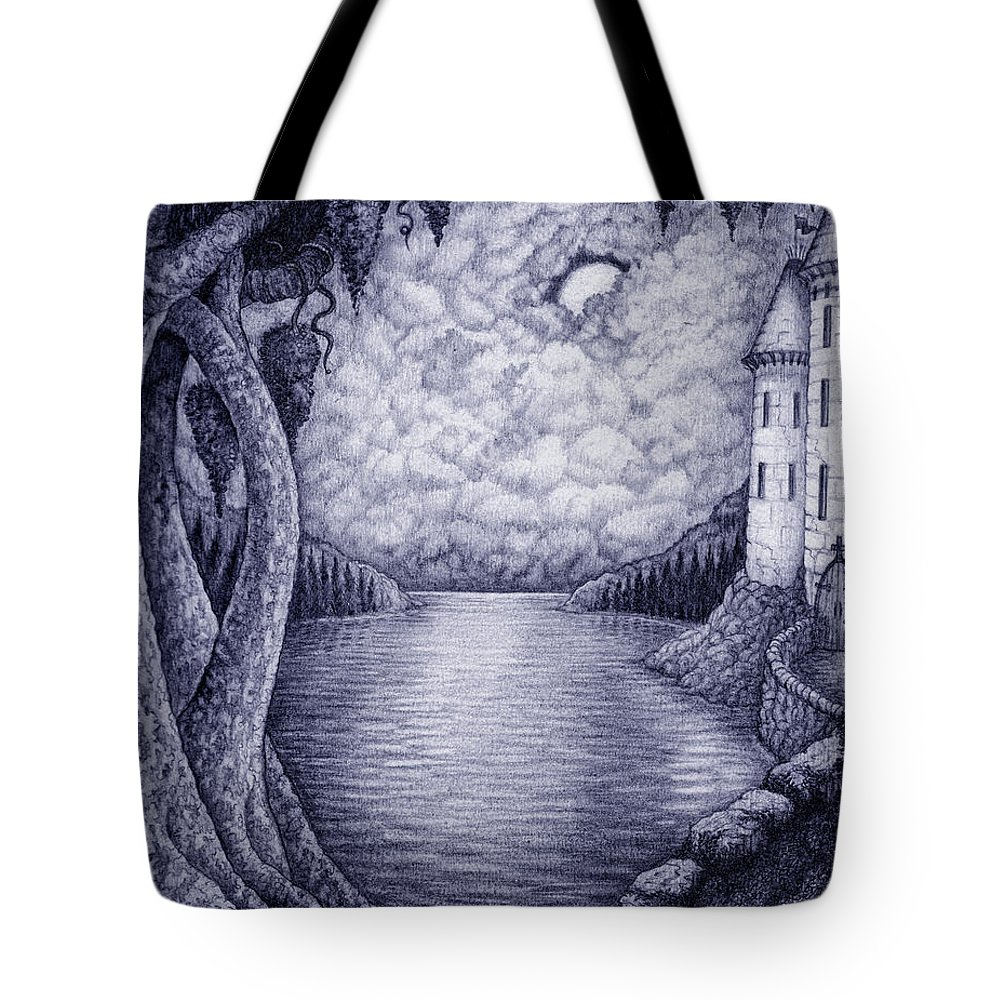 Realism Tote Bag featuring the drawing Moonlight by Debra A Hitchcock