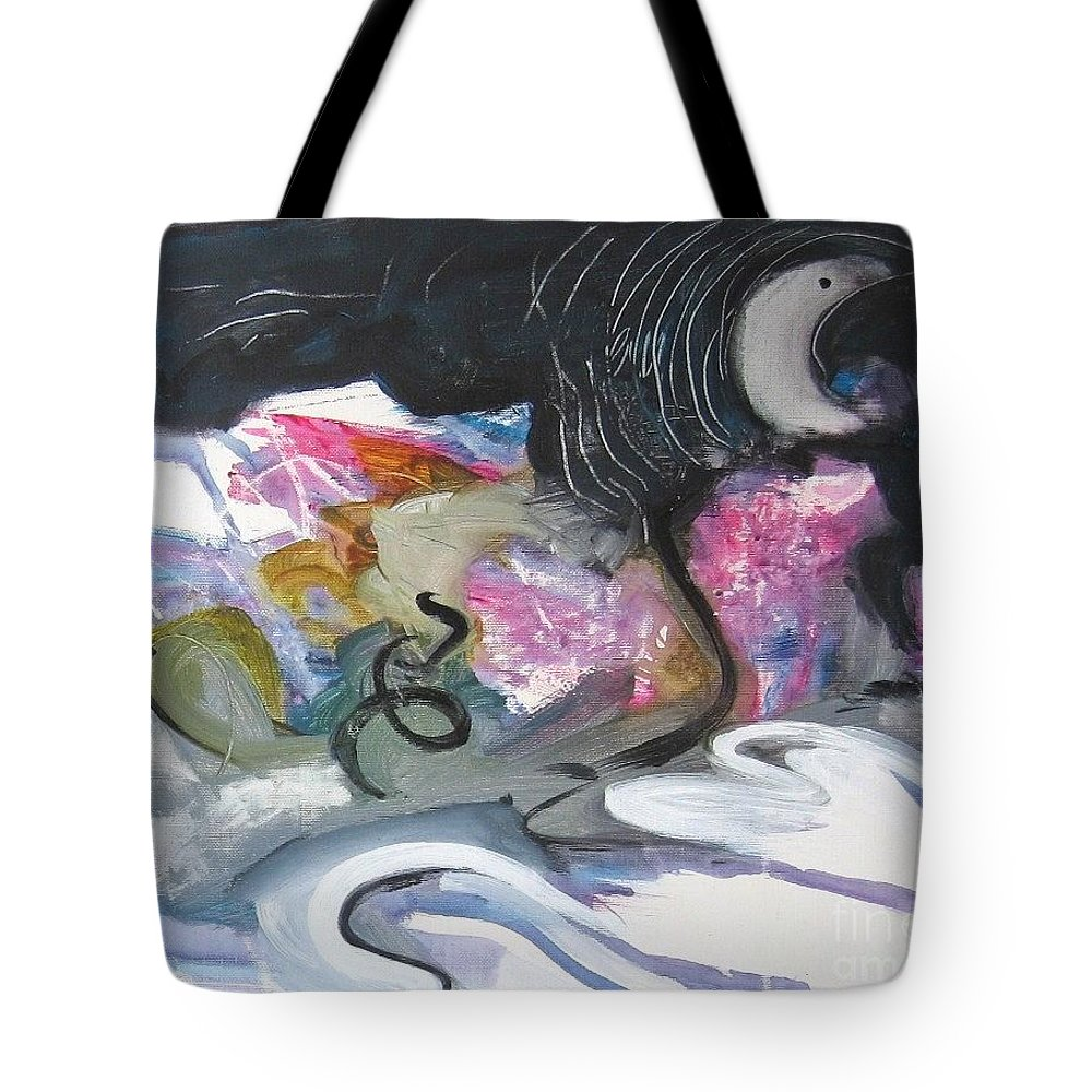 Abstract Paintings Tote Bag featuring the painting Moonlight Fever by Seon-Jeong Kim